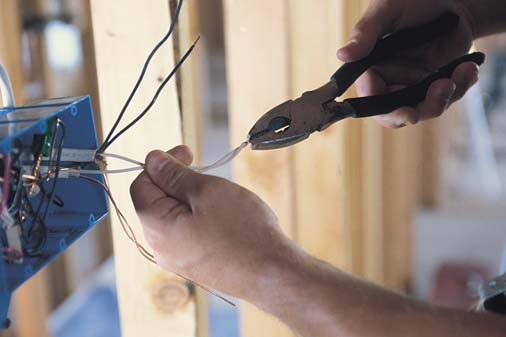 electrician working with wiring